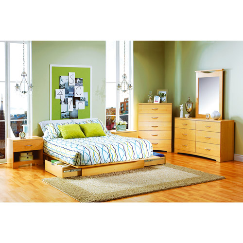 South Shore SoHo Full/Queen Storage Platform Bed, Natural Maple