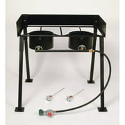 "King Kooker #CS29 - 25"" Tall Heavy Duty Portable Propane Double Burner Outdoor Cooker / Camp Stove"