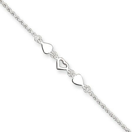Sterling Silver 9 Heart Link Anklet