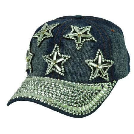Team Sports Denim Jeans Blue Rhinestones Gems Star Womens Vintage Sun Buckle Hat Cap Ladies