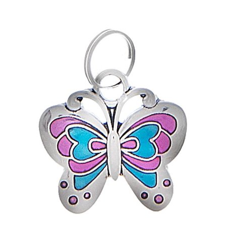 Pink & Blue Metal Butterfly - Nothing But Luck Charm by Ganz