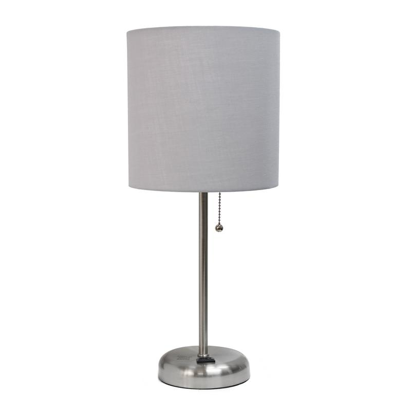 Limelights Modern Silver Metal Stick Lamp with Outlet and Fabric Shade, Gray