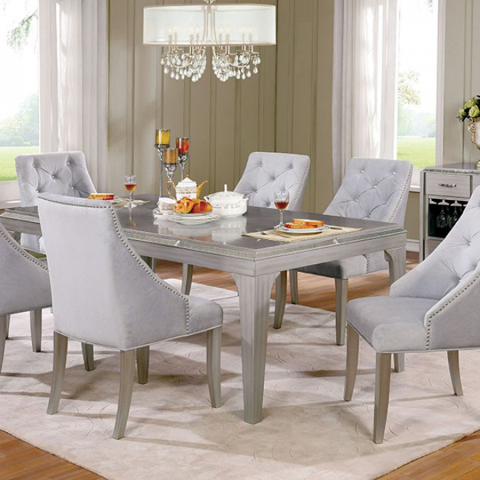 Diocles Contemporary Style Dining Table With Tapered Legs, Silver