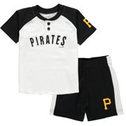 Pittsburgh Pirates Toddler Good Hit Henley T-Shirt & Shorts Set - White/Black