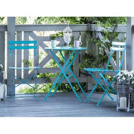 Bistro Stackable - Outdoor Patio 3 Piece Bistro Set Blue Steel Round Table and Stackable Chairs Fiori