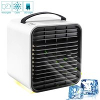 Air Conditioner Fan, Personal Space Air Cooler Desktop Fan Mini Air Circulator Purifier Cooler with Portable Handle and Night Light for Home Room Office Outdoors (White)