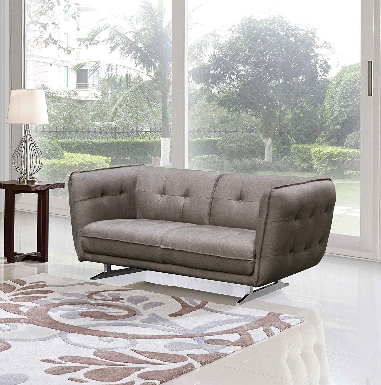 US Pride Furniture Lucas Modern Contemporary Button Tufted Fabric Upholstered Loveseat, Brown, S5044-L
