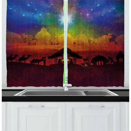 Abstract Curtains 2 Panels Set, Biblical Scene Birth in Bethlehem Christmas Nativity Camels Exotic Palm Trees, Window Drapes for Living Room Bedroom, 55W X 39L Inches, Multicolor, by Ambesonne