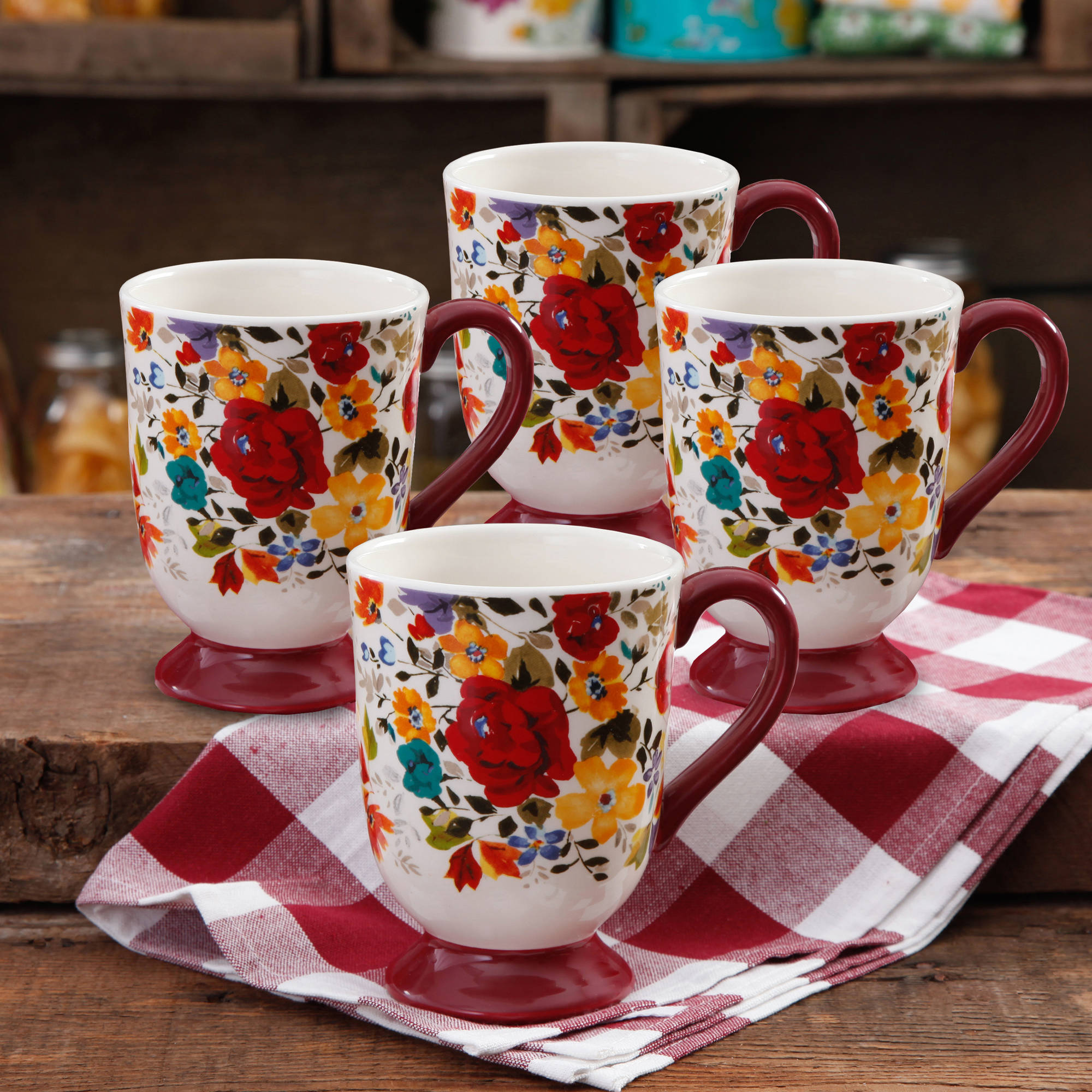 The Pioneer Woman Timeless Floral 18-Ounce Latte Mug Set, 4-Pack
