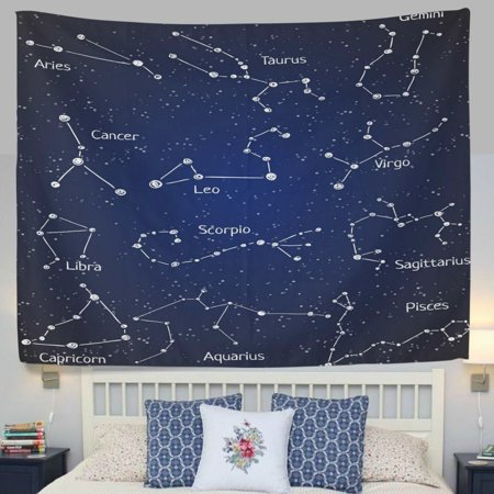 Popcreation 12 Constellation Universe Galaxy E Stars Fabric Tapestry Throw Dorm Bedroom Art Home Decor Wall Hanging 51x60 Inches