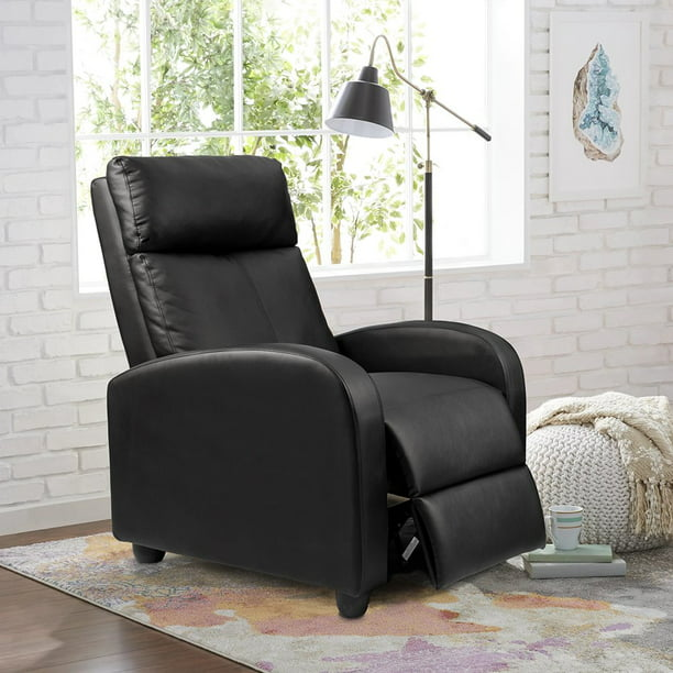 Walnew Home Theater Recliner with Padded Seat and Backrest, Black Faux Leather