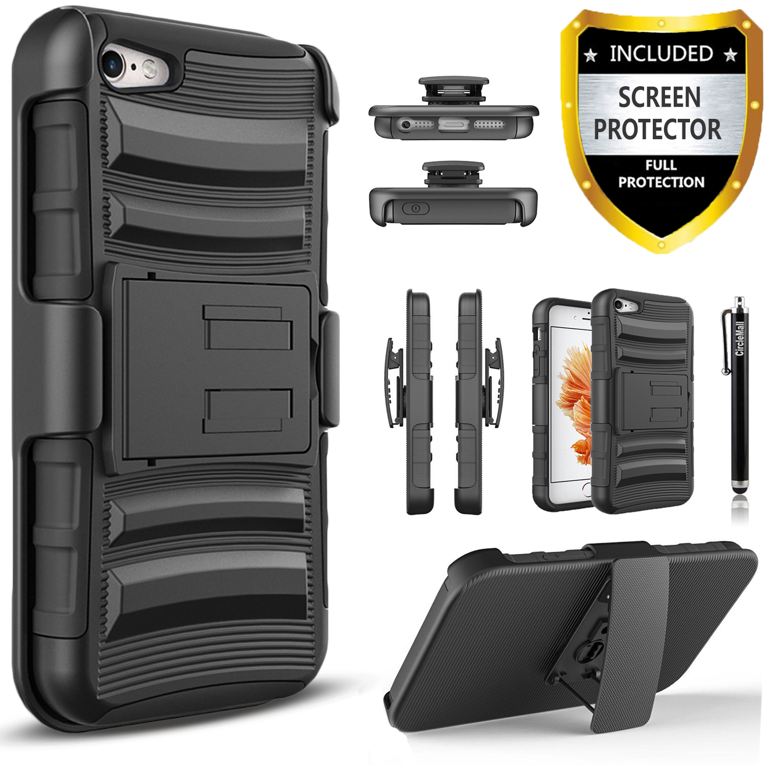 iPhone SE Case, iPhone 5 Case, iPhone 5S Case, Dual Layers [Combo Holster] Case And Built-In Kickstand Bundled with [Premium Screen Protector] Hybird Shockproof And Circlemalls Stylus Pen (Black)