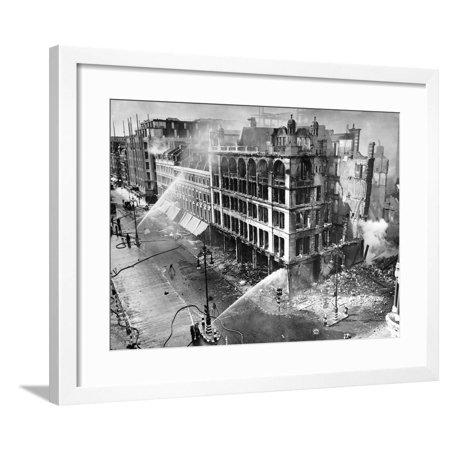 01f3d00fd220 John Lewis Oxford Street Bombing Aftermath Framed Print Wall Art By Associated  Newspapers - Walmart.com