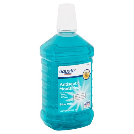 Antiseptic Mouthwash - Equate Blue Mint Antiseptic Mouthrinse, 50.7 fl oz