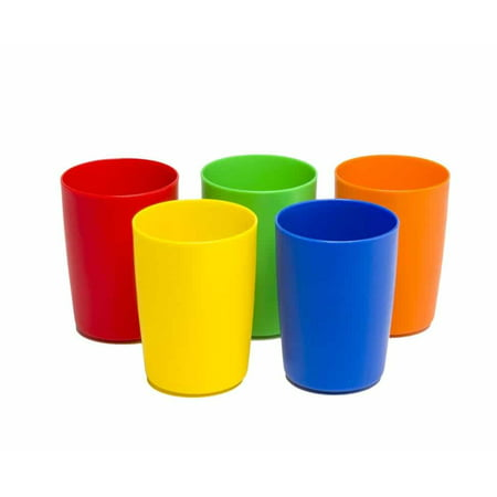 Greenco Set of 5 Unbreakable Reusable Plastic Kids Cups, Assorted Colors, 5 oz.](Color Plastic Cups)