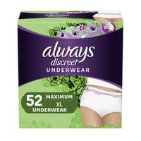 Always Discreet, Incontinence & Postpartum Underwear for Women, Maximum, XL, 52 Count