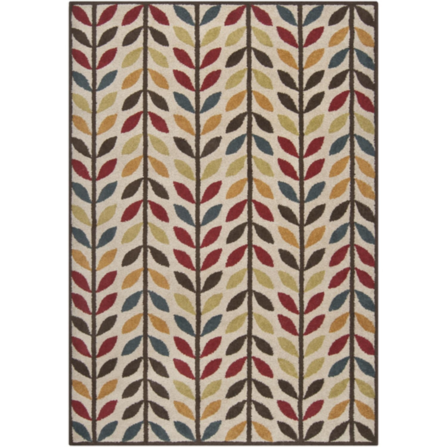 6.5' x 9.5' Graphic Leafy Vine Dark Slate Blue, Coffee Bean and Curry Area Rug