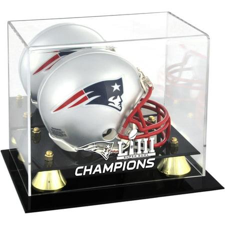 New England Patriots Super Bowl LIII Champions Golden Classic Mini Helmet Logo Display (Champions Mini Helmet Display Case)