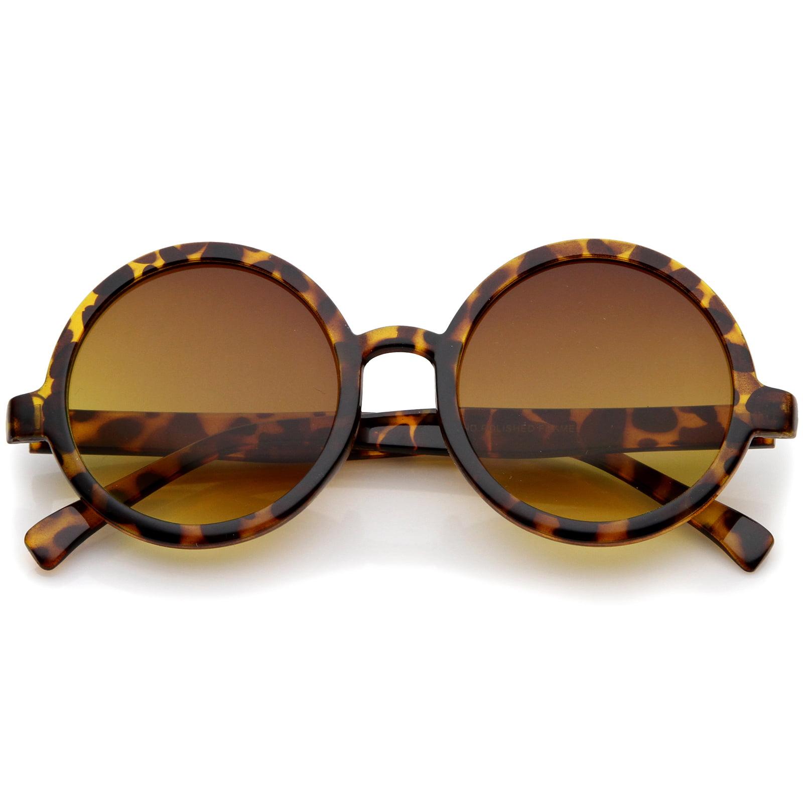 sunglassLA - Classic Retro Horn Rimmed Neutral-Colored Lens Round Sunglasses 52mm - 52mm