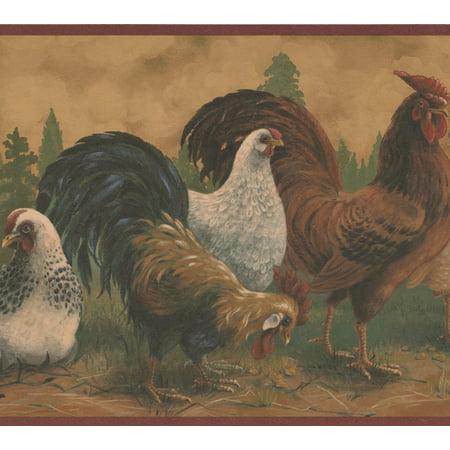 Brown Rooster White Hen Farmhouse Wallpaper Border Retro Design, Roll 15' x 10.5''