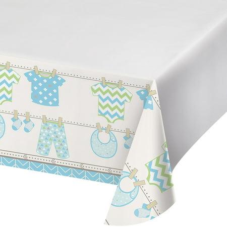 Baby Blue Plastic Table (Bundle of Joy Boy Blue Plastic 48 x 88 Tablecover Baby Shower)