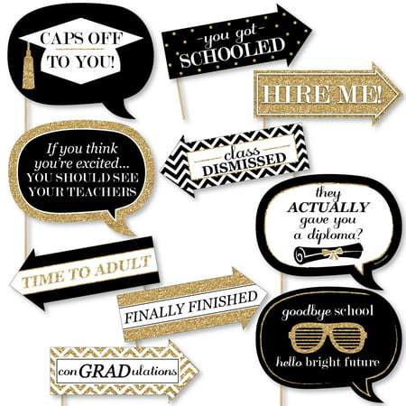 - Funny Gold Tassel Worth The Hassle - Graduation Party Photo Booth Props Kit - 10 Piece