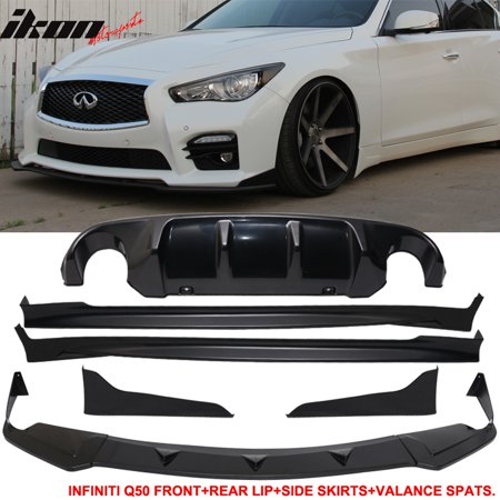 Rear Skirt Lip Diffuser (Fits 14-17 Infiniti Q50 Q50S Front Lip + Side Skirts + Rear Apron +Rear Diffuser )