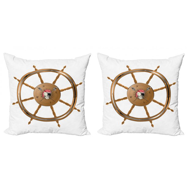 Ships Wheel Throw Pillow Cushion Cover Pack Of 2 Wooden Steering Wheel Image Of Pirate Skull Seaman Lifestyle Ocean Inspired Zippered Double Side Digital Print 4 Sizes Brown Black By Ambesonne Walmart Com