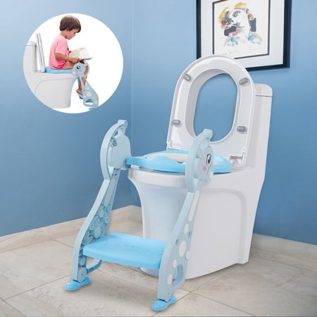 Tbest Cute Deer Armrest Ladder Potty Chair for Baby Boy Kids Toddler Training Soft Toilet Seat Blue, Toilet Ladder,Potty Training
