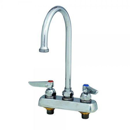 T&S Brass B-2392 Workboard Faucet with Deck Mount, 4-Inch Centers, Swivel Gooseneck and Lever -