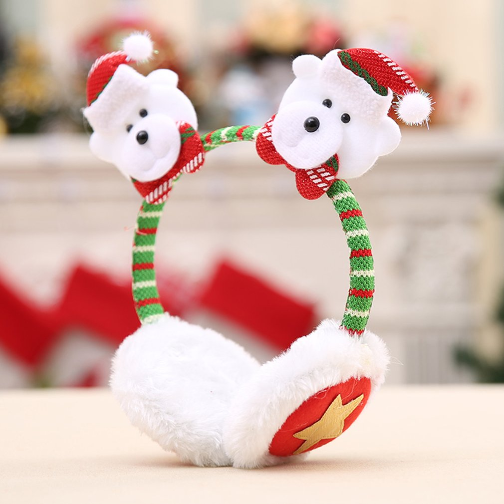 Christmas Headband Earmuffs Headdress Party Decor Warm Earcap Winter Ear Muffs ,Bear,multicolor