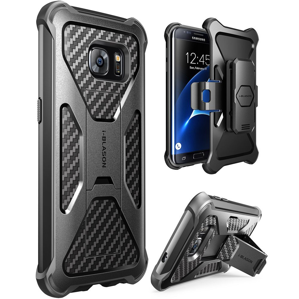 Galaxy S7 Edge Case, i-Blason Prime, Samsung Galaxy S7 Edge 2016, Locking Belt Swivel Clip-Black