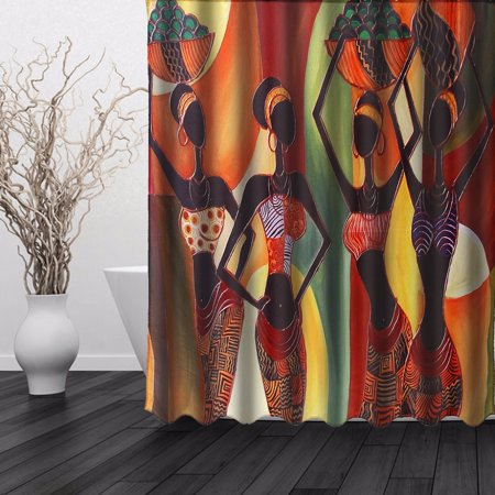 Cartoon African Woman Waterproof Bathroom Shower Curtain Art Decor Afrocentric In Tribal Dresses 60 X 72