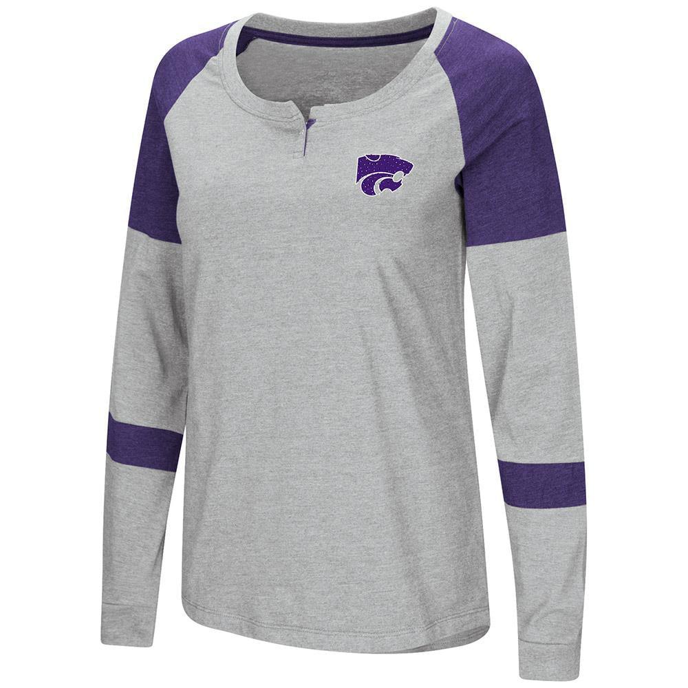 Womens Kansas State Wildcats Long Sleeve Raglan Tee Shirt - L