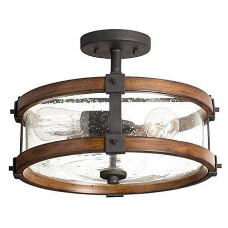 Kichler 14-Inch W Distressed Black and Wood Clear Glass Semi Flush Mount Light Hubbardton Forge Semi Flush Lighting
