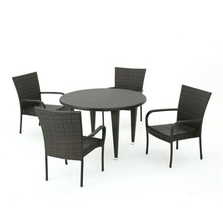 Sol y Luna Outdoor 5 Piece Wicker Circular Dining Set, Multibrown ()