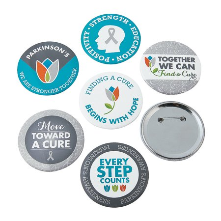 Fun Express - Parkinsons Awareness Buttons - Jewelry - Pins - Novelty Buttons - 24 Pieces (Photo Button Pins)