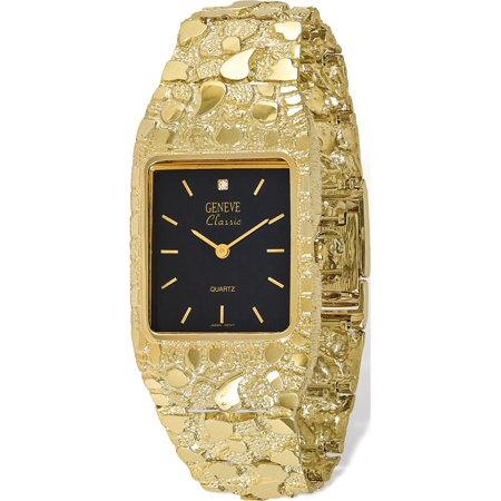 - 10k Yellow Gold Black 27x47mm Dial Square Face Nugget Watch