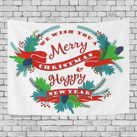 POPCreation Merry Christmas Wall Tapestry Xmas Happy New Year Wreath Home Decor Tapestry Wall Hanging for Dorm Throw Living Room 40x60 inches