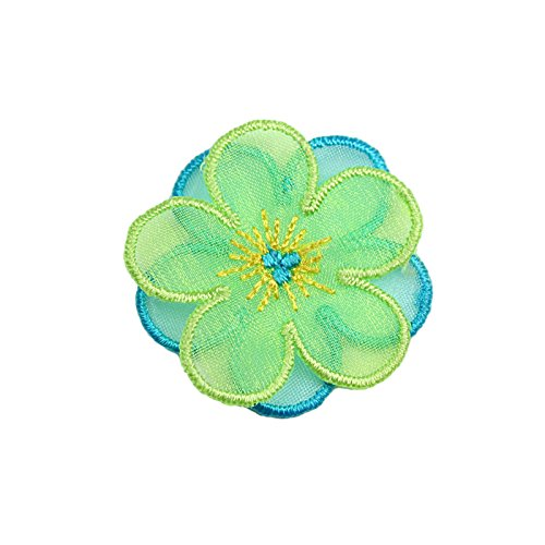 "Altotux 1.5"" Blue Yellow Green 2 Layered Flower Iron On Applique Motif Patch"