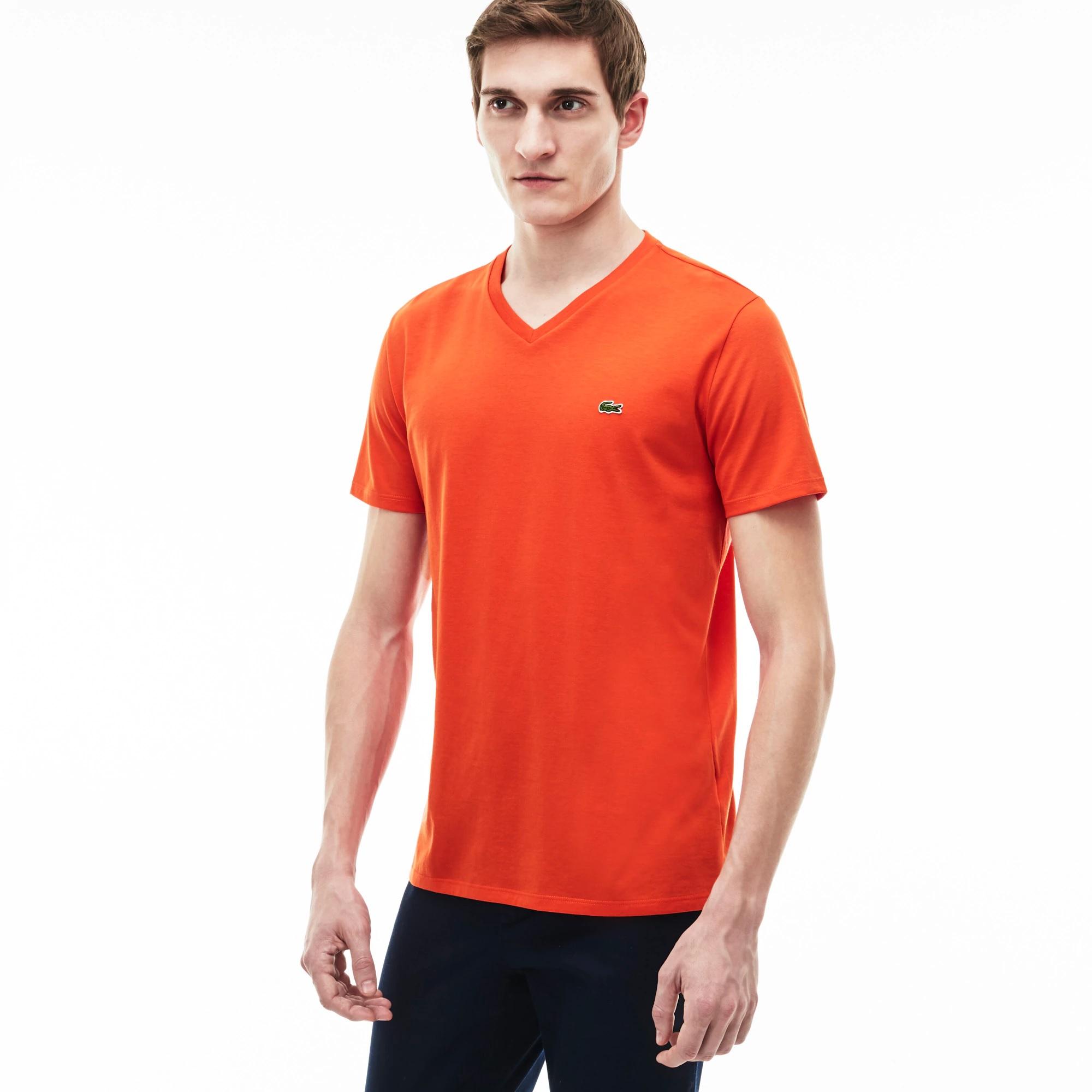 Lacoste Men's V-neck Pima Cotton Jersey T-shirt Tangelo Orange Large