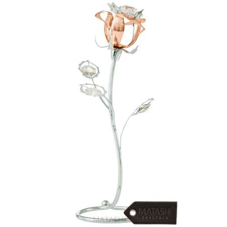 Matashi Crystal Rose Flower Tabletop Sculpture with (Polar Crystal Sculpture)