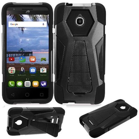 new product 94c72 247cc Phone Case for Straight Talk Alcatel onetouch Pixi Avion A570L A571C 4G LTE  / Tracfone Alcatel Pixi Bond Rugged Cover Wide (Wide Stand Black-Black ...