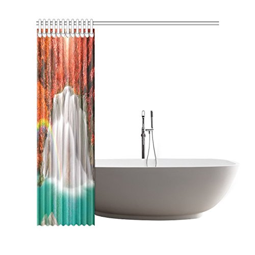 GCKG Fall Red Leaf Trees Shower Curtain, Wounderful Waterfall Rainbow Polyester Fabric Shower Curtain Bathroom Sets with Hooks 66x72 Inches - image 2 of 3