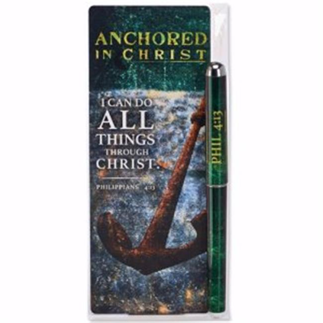 Christian Tools of Affirmation 142507 Pen & Jumbo Bookmark Set Anchored in Christ Philippians 413 by Christian Tools Of Affirmation