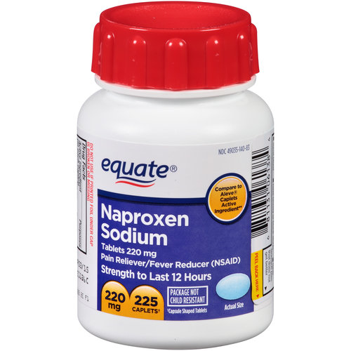 Equate Naproxen Sodium 220mg Easy Open Caplets, 225 count