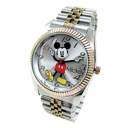 Jumbo Mickey Mouse Men's 'Moving Hands' Gold & Silver Bracelet Watch mck990