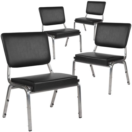HERCULES Series Flash Furniture 4 Pk. 1500 lb. Rated Black Antimicrobial Vinyl Bariatric Chair with 3/4 Panel Back and Silver Vein Frame