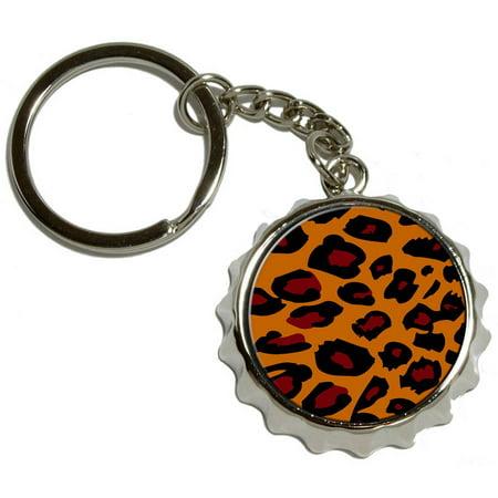 leopard animal print nickel plated metal popcap bottle opener keychain key ring. Black Bedroom Furniture Sets. Home Design Ideas