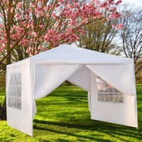 Outdoor Party Tent with 4 Side Walls, 10' x 10' White Patio Gazebo Tent for Outside, 2020 Upgraded Sunshade Shelter Gazebo Canopy, Waterproof Outdoor Gazebo Tent for Backyard Wedding, I7412